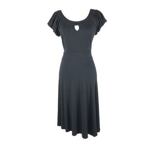 Nicole Miller 8 dress black pleated keyhole ruched